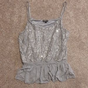 Express Sinched Waist Lace & Sequined Cami Medium